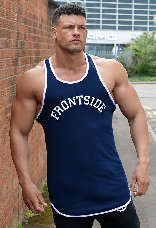 Men's Navy Longline Gym Vest - Frontside Apparel