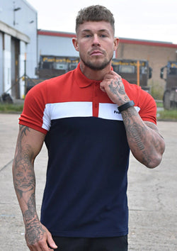 Men's Red, White and Blue Striped Polo Shirt - Frontside Apparel