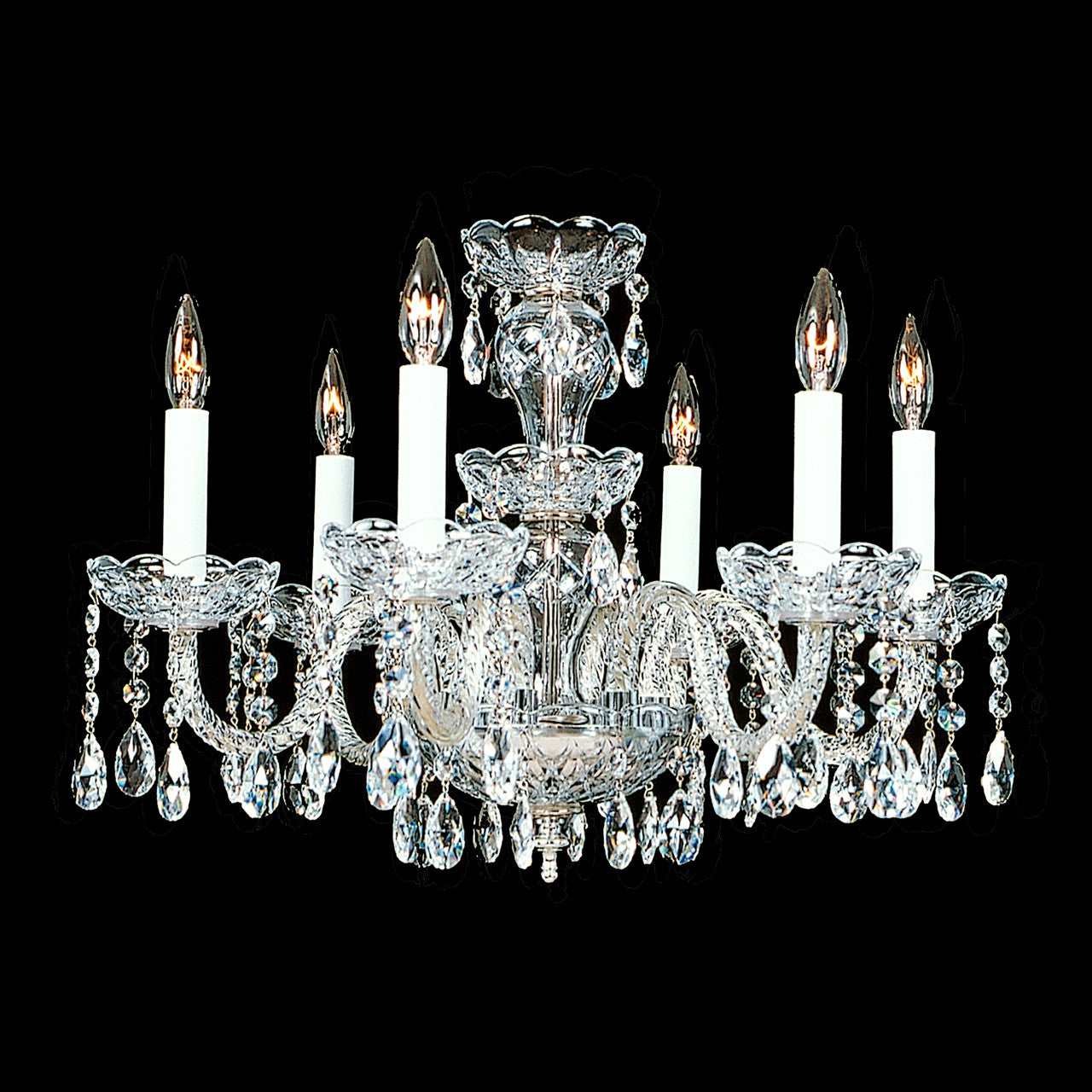 Wentworth 6 light crystal chandelier with swarovski 18 x 15 crystal chandelier wentworth with swarovski wentworth crystal chandelier shown with nickel note the clear wire in the arms arubaitofo Images