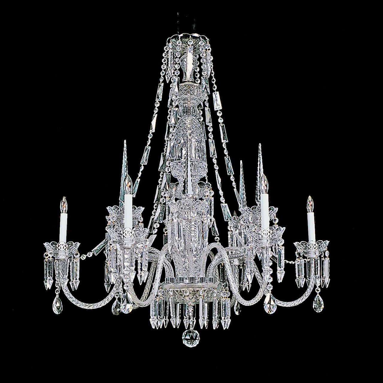 Beauregard 6 light crystal chandelier 38 x 42 kings 6 light and 6 spear beauregard chandelier reproduction aloadofball Gallery