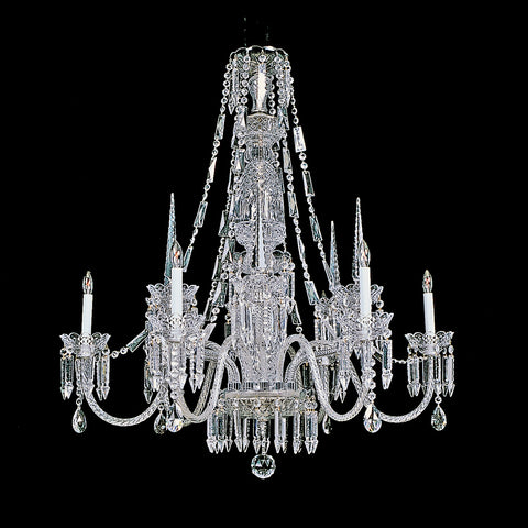 6 light and 6 spear Beauregard Chandelier Reproduction