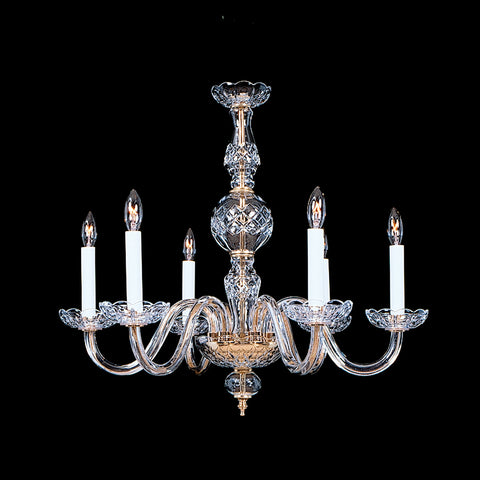 6 light Crystal Chandelier Berkeley 6 Shown in brass.