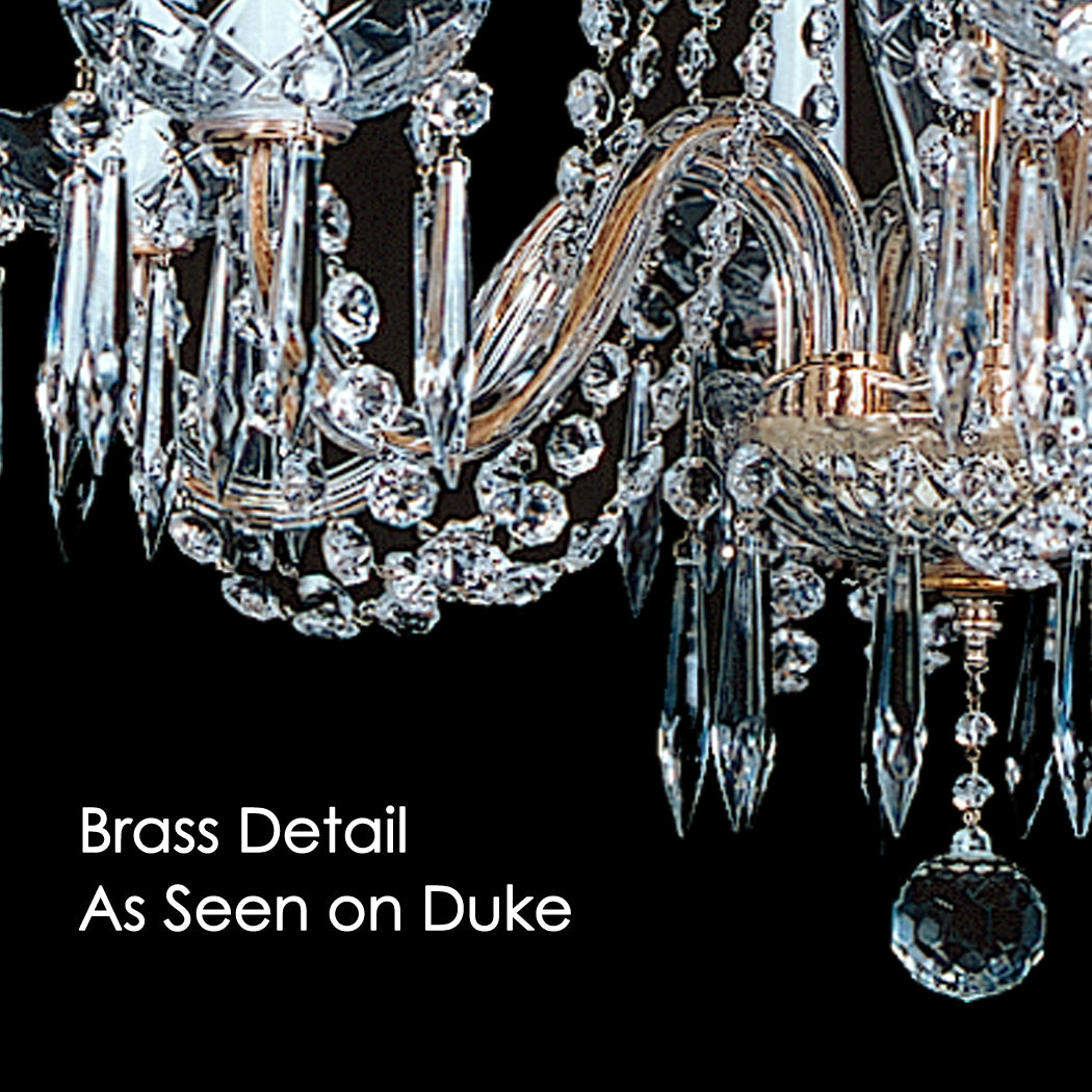 Baron 8 light crystal chandelier 37 x 62 kings chandelier co brass detail as seen on the duke chandelier note the brass toned wire running through aloadofball Choice Image