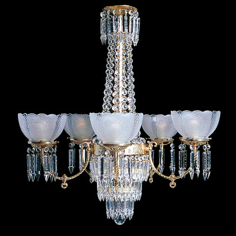 "Charleston 5 - 5 Light Brass and Crystal Victorian Chandelier - 28"" x 33"""