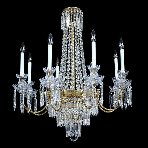8 light Brass and Crystal Chandelier Coventry