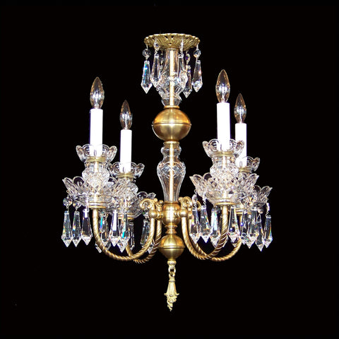4 light Brass and Crystal Chandelier Eileen with Swarovski