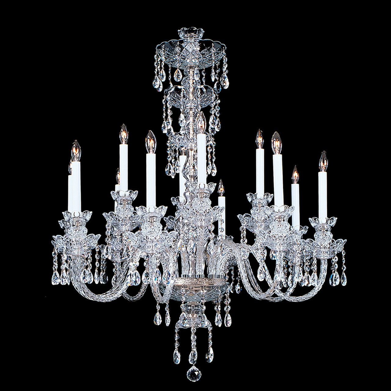 Elizabeth 12 light crystal chandelier with swarovski 32 x 42 elizabeth crystal chandelier shown in nickel finish note the clear wire in the arms aloadofball Gallery
