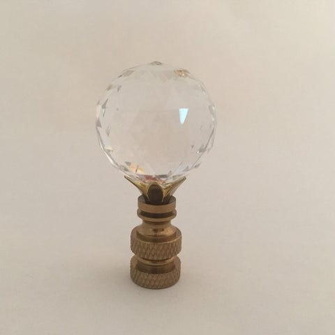 30mm 202 Polished Brass Lamp Finial - Swarovski Crystal Ball
