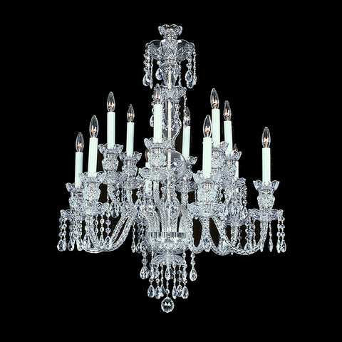 Medium Durham  Crystal Chandelier shown in Nickel finish.  Note the clear wire in the arms.
