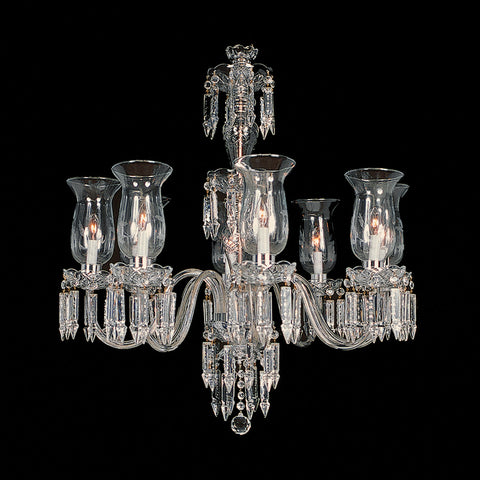 Crystal Chandelier Monroe with hurricane globes.