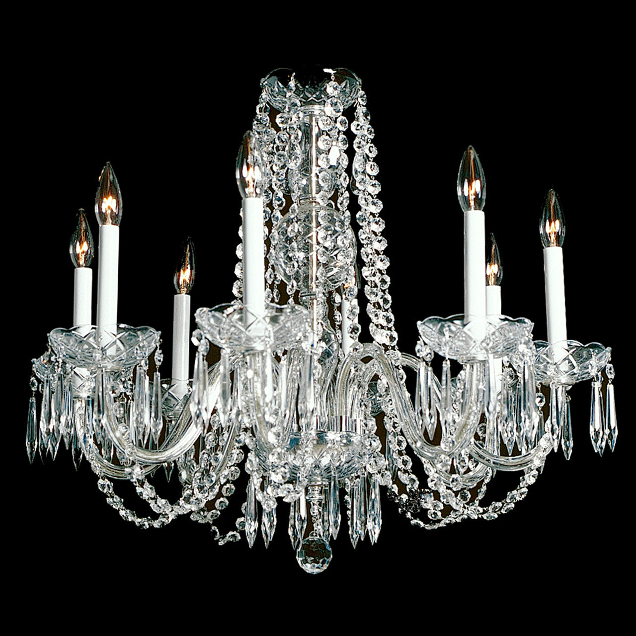 Princess 8 light crystal chandelier 28 wide x 23 long kings crystal chandelier princess princess chandelier crystal chandelier shown in nickel finish note the clear wire in the arms arubaitofo Choice Image