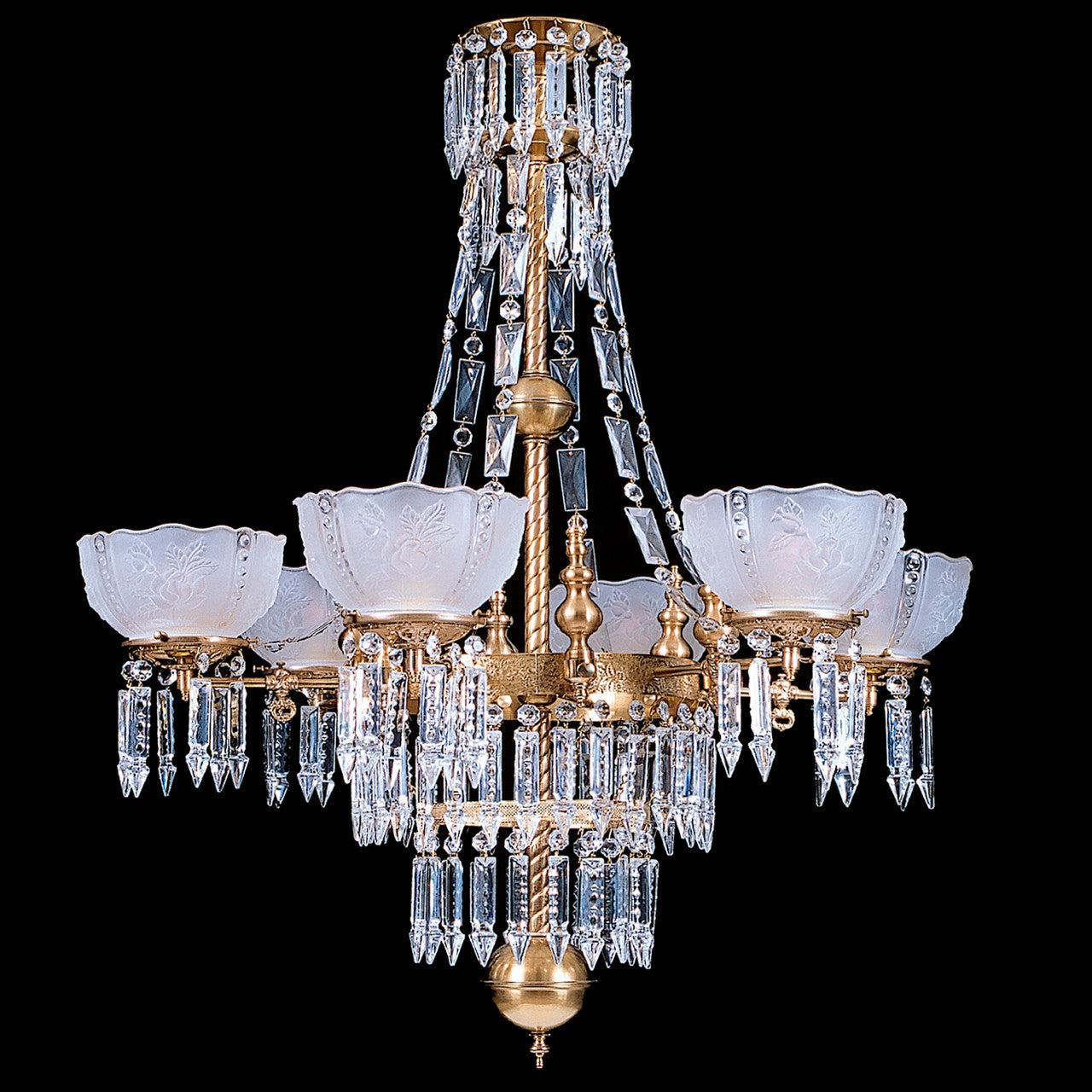 Whitaker 6b 6 Light Brass And Crystal Victorian Chandelier 32 X