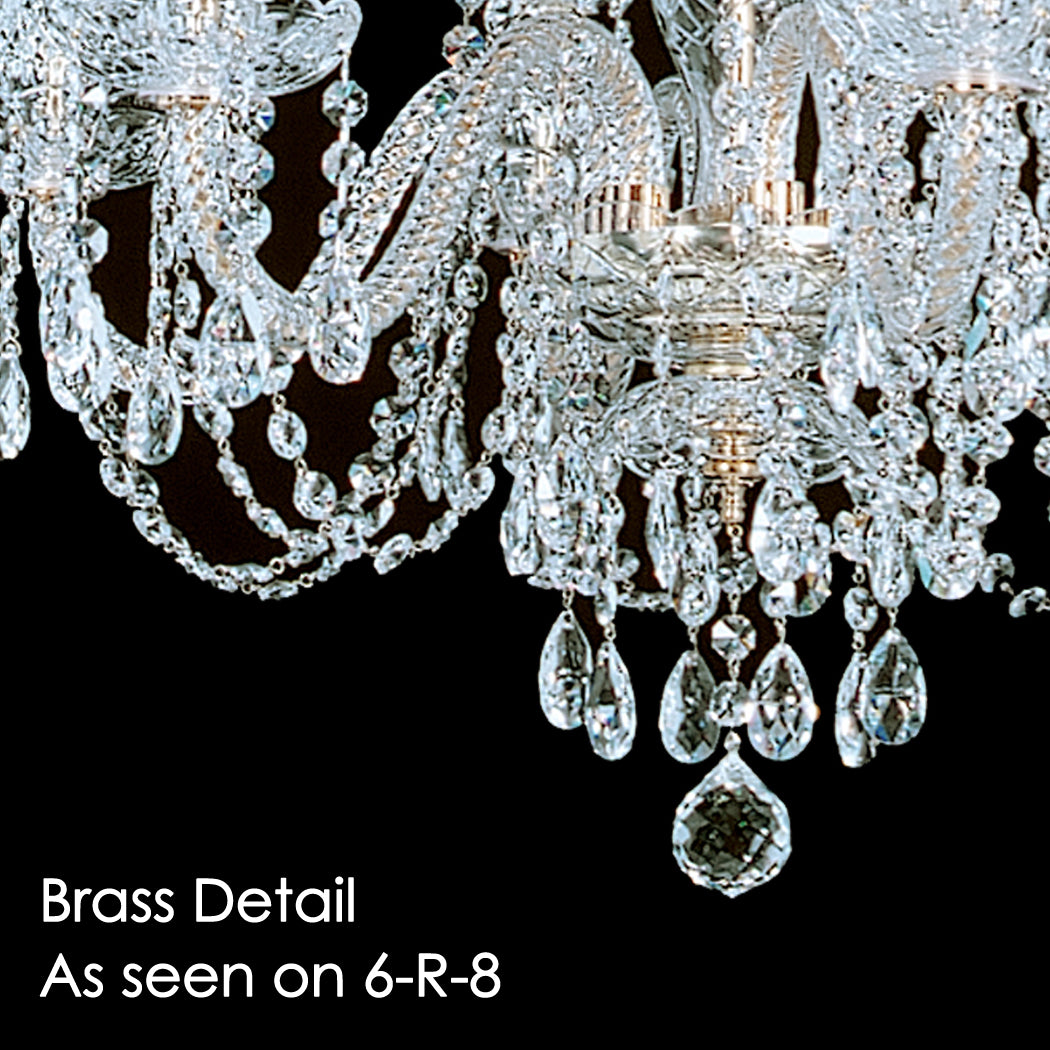 King 18 light crystal chandelier with swarovski 32 x 45 brass detail as seen on the 6 r 8 chandelier note the brass arubaitofo Gallery