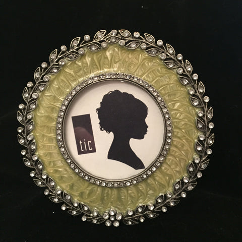 Round Crystal Accented Picture Frame