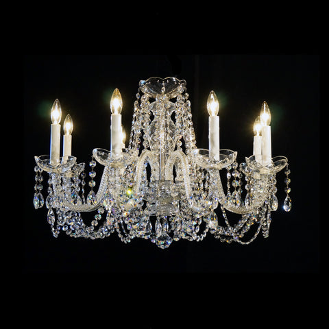"8-R-10 Short - 8 Light Crystal Chandelier with Swarovski - 26"" x 18"""