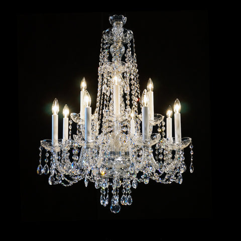 "8+4 Small - 12 Light Crystal Chandelier with Swarovski - 22"" x 31"""