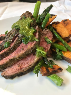 Grilled Flank Steak with Chimichurri Sauce Grilled Asparagus and Roasted Sweet Potato