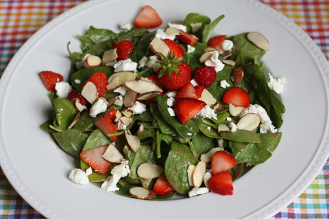 Fresh Strawberry, Goat Cheese, and Grilled Chicken Salad with Mixed Greens and Strawberry Poppy Seed Dressing