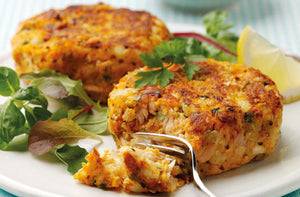 """Wild Caught"" Cod Fish Cake with a Saffron Steamed Rice Pilaf & Roasted Red Pepper Remoulade"