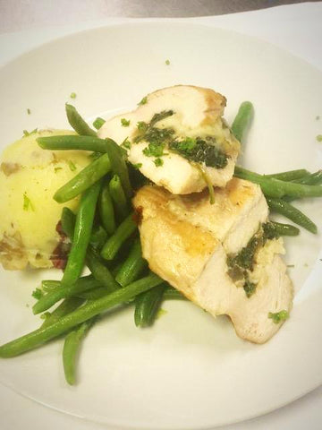 Spinach & Asiago Stuffed Pasture Raised Chicken with Roasted Garlic Mashed Potatoes & Fresh Green Beans