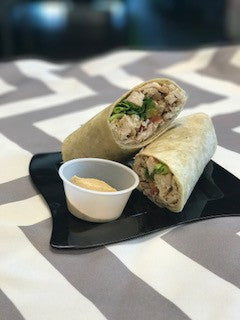 GRILLED CHICKEN SHAWARMA WRAP WITH ROASTED GARLIC HUMMUS