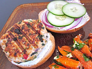 (WEDNESDAY) Bunless Spinach & Feta Turkey Burger with Tzatziki and Sweet Potato Wedges