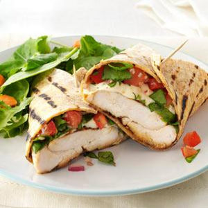 Chicken Caprese Wrap with Creamy Balsamic Dressing