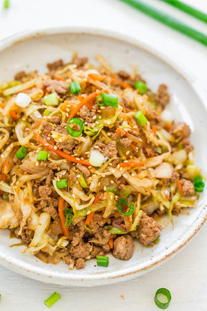 GROUND PORK EGG ROLL IN A BOWL WITH CABBAGE & CARROT