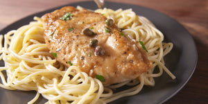 Chicken Piccata over Angel Hair Pasta or Zoodles with (mild) Spicy Green Beans