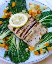 Grilled Lemon Pepper Mahi Mahi with Grilled Summer Veggies & Black Rice