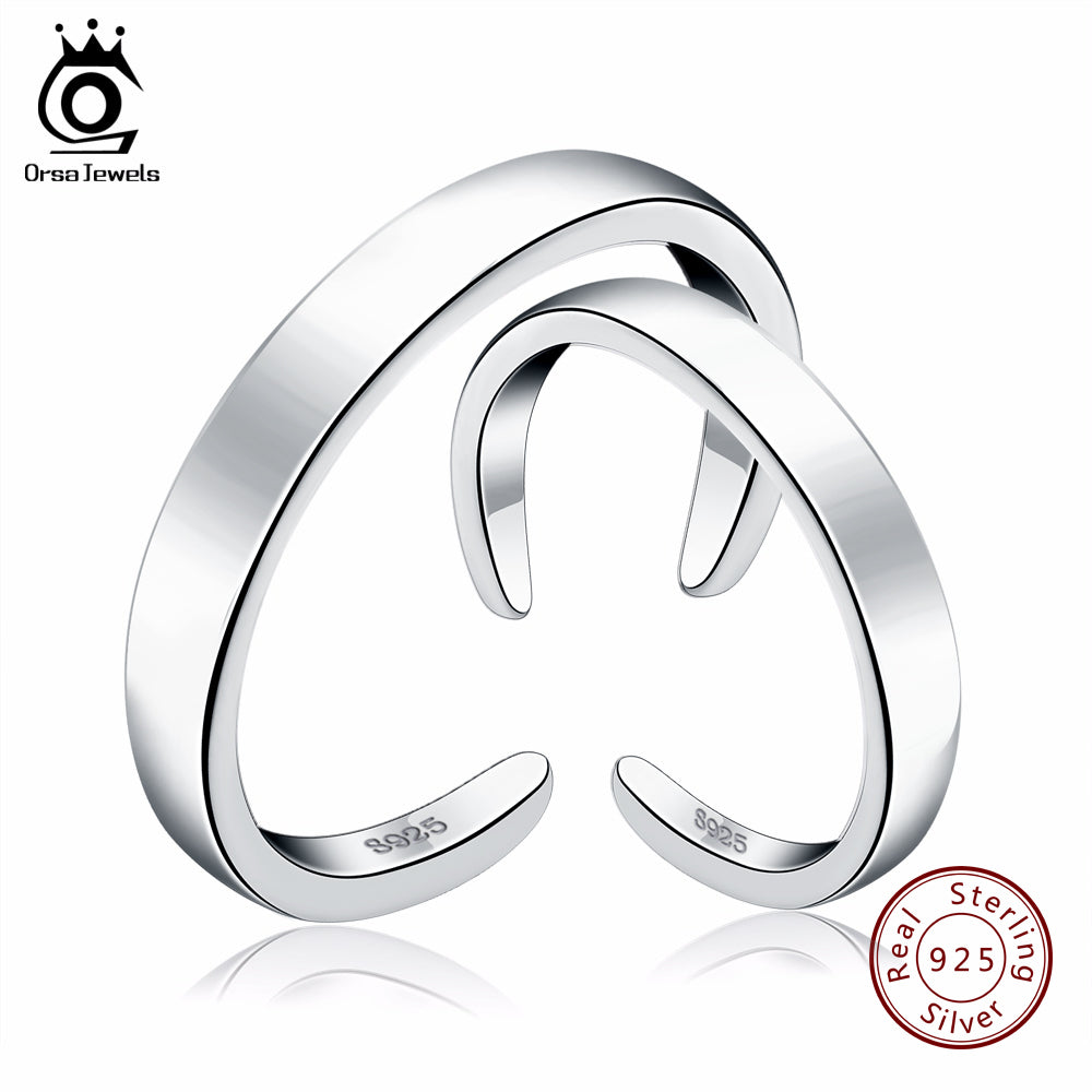 ORSA JEWELS Pure 925 Sterling Silver Rings for Women&Men Couple Ring Romantic Wedding Valentine Present Fashion Jewelry  SR21