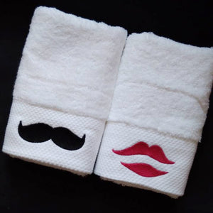 Deluxe Face Towel Thickening 150g 16s Cotton Embroidered Lovers Towel Beard&Kiss Towel Bathroom for Adults Valentines Gift
