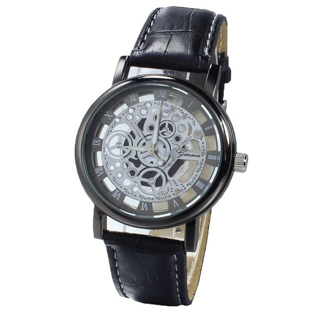 Leather Button Battery Wrist x 1 Hollow Out Watch Casual Women Men 0 included Quartz 17mm 7inch Fashion Synthetic Band