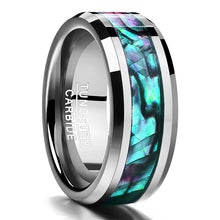Fine jewelry 8MM inlaid abalone shell beveled steel tungsten carbide ring Wedding Jewelry US size 7 8 9 10 11 12 Valentine gift