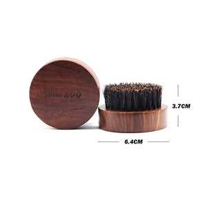 eard Brush for Men Round Wooden Handle Perfect for Beard Oil & Balm with Natural Soft Hair Bristles