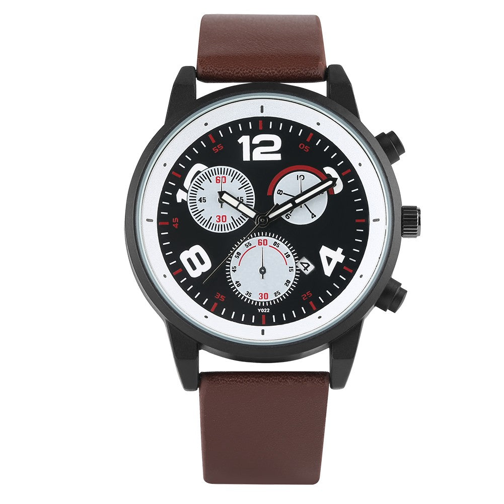 Men Watch, Waterproof Quartz Watches, Business and Sport Design Leather Band Strap Wrist Watch for Men