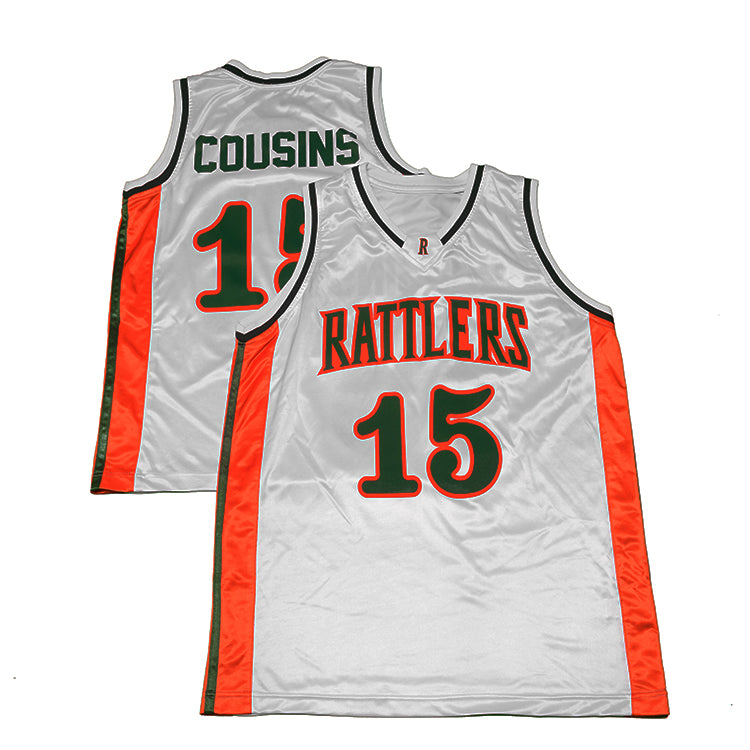 5178d0e5c DeMarcus Cousins   15 Retro High School Rattlers Jersey (White ...