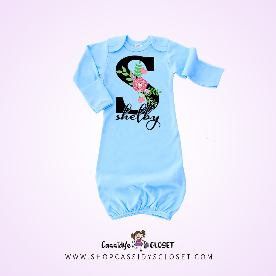 Floral Personalized Baby Gown | Blue