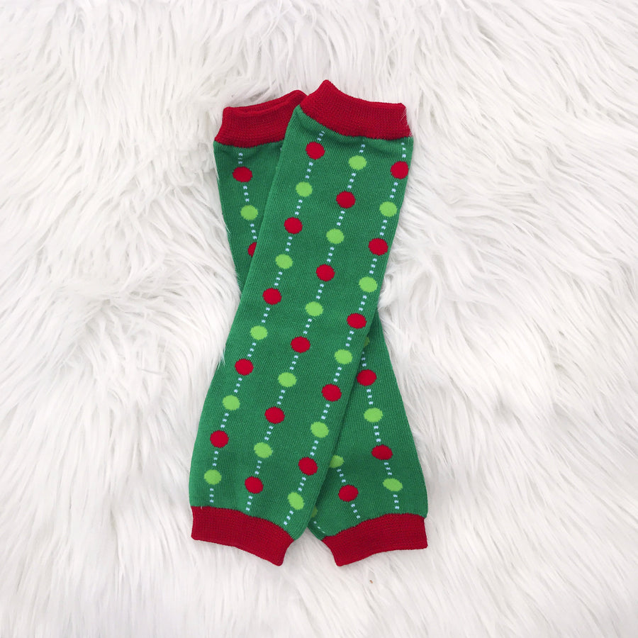 Red and Green Christmas Ornament Leg Warmers
