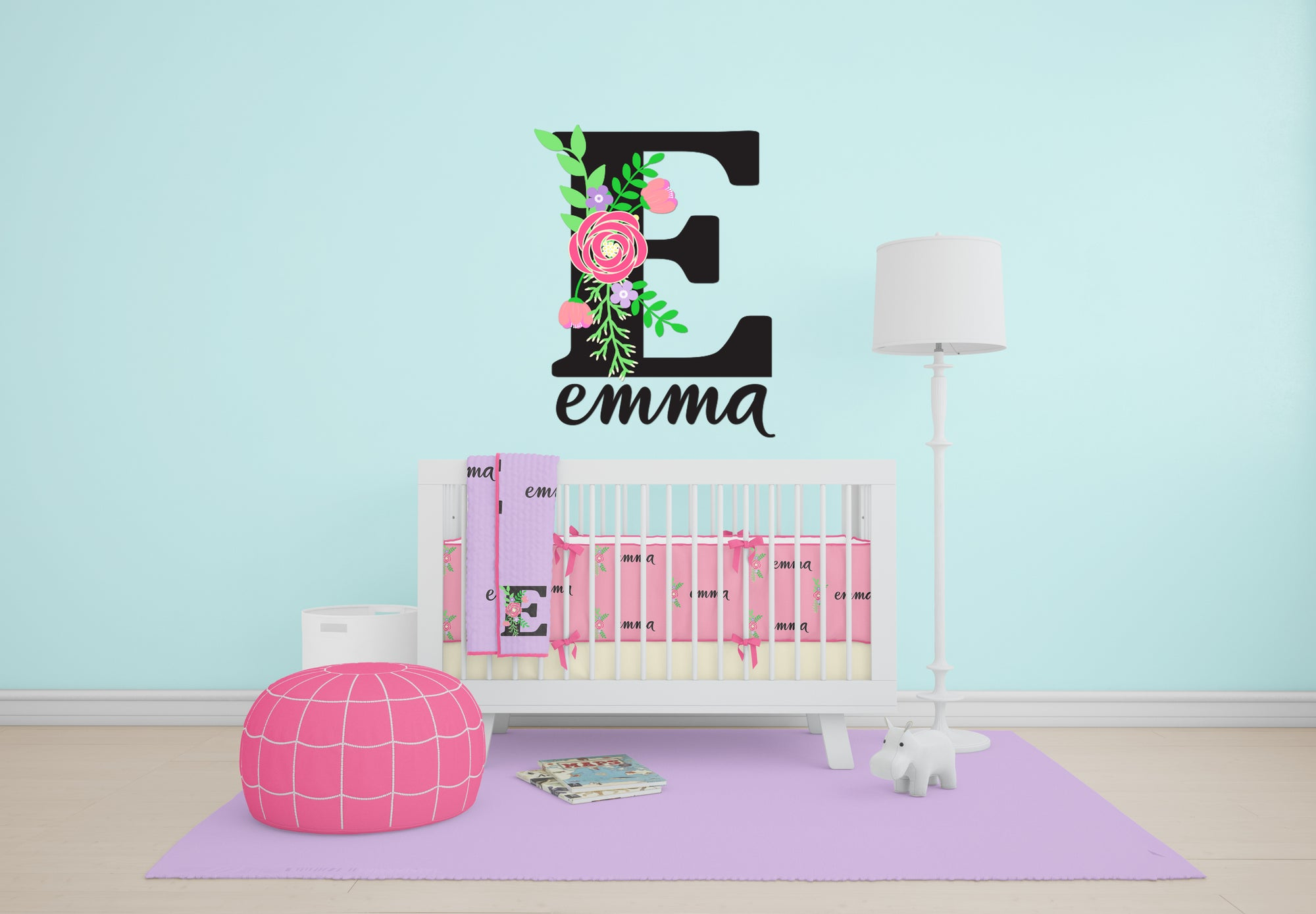 Floral personalized name wall decal shop cassidys closet floral personalized name wall decal amipublicfo Choice Image