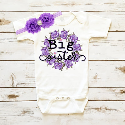 Baby Clothes - Big Sister Floral Bodysuit