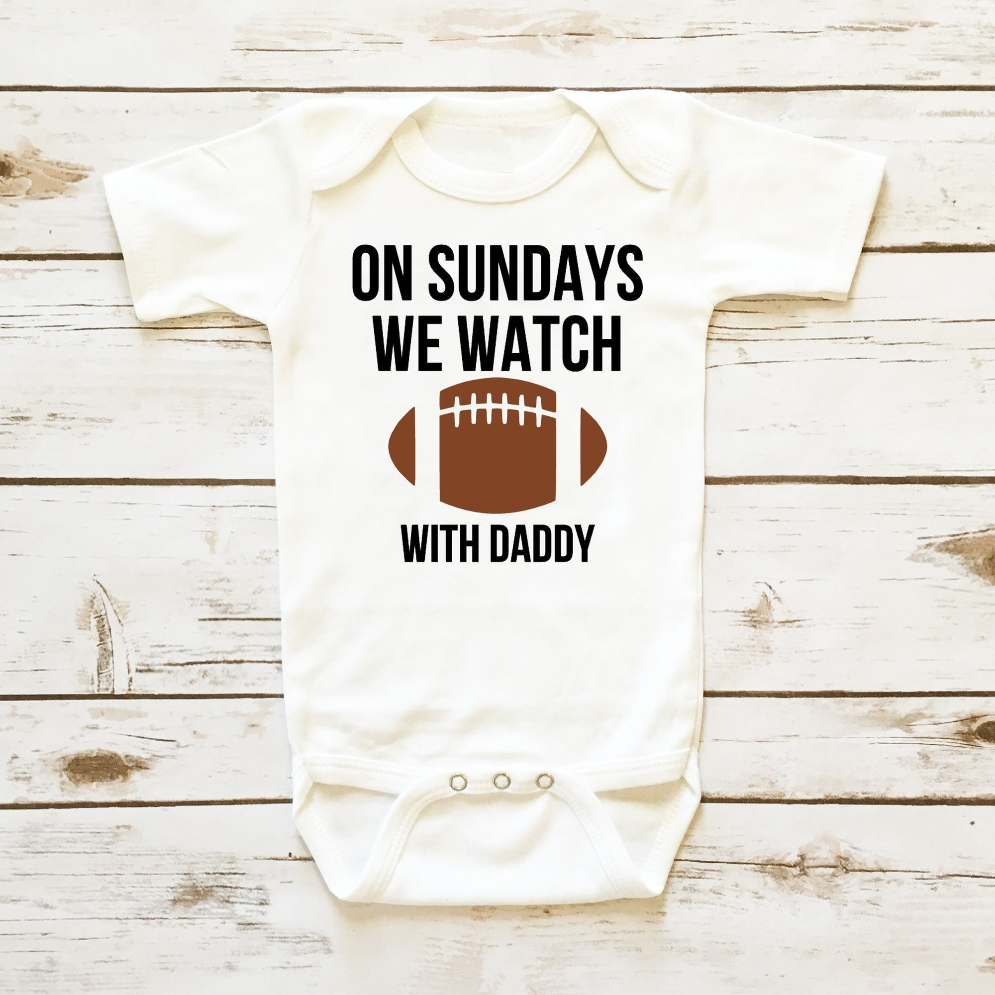 Baby Boy esie Sunday Football Bodysuit WIth Daddy and Mommy Shop