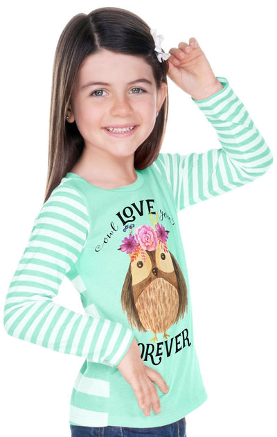 Owl Love You Forever | Mint Striped Girl's Shirt - Cassidy's Closet - 3