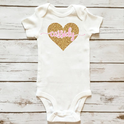 Personalized Heart Bodysuit - Baby Clothes - Cassidy's Closet