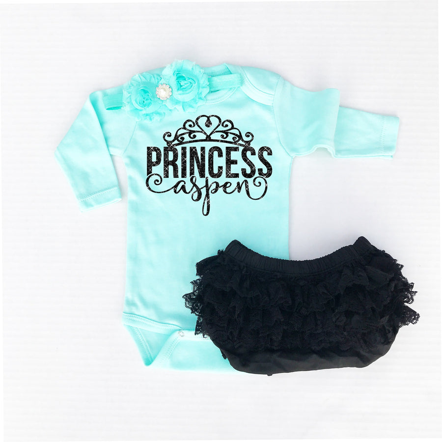 Personalized Princess Mint Bodysuit - Cassidy's Closet