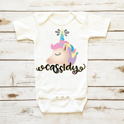 Baby Clothes - Personalized Unicorn Bodysuit| Infant