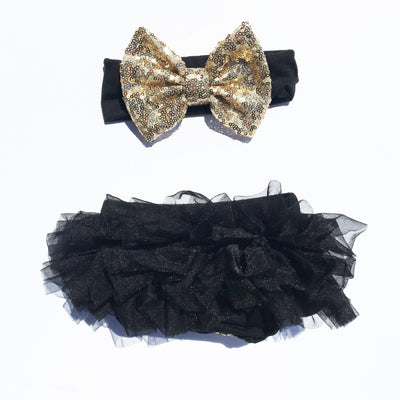 Black/Gold Sequin Tutu Bloomers Set - Cassidy's Closet - 2