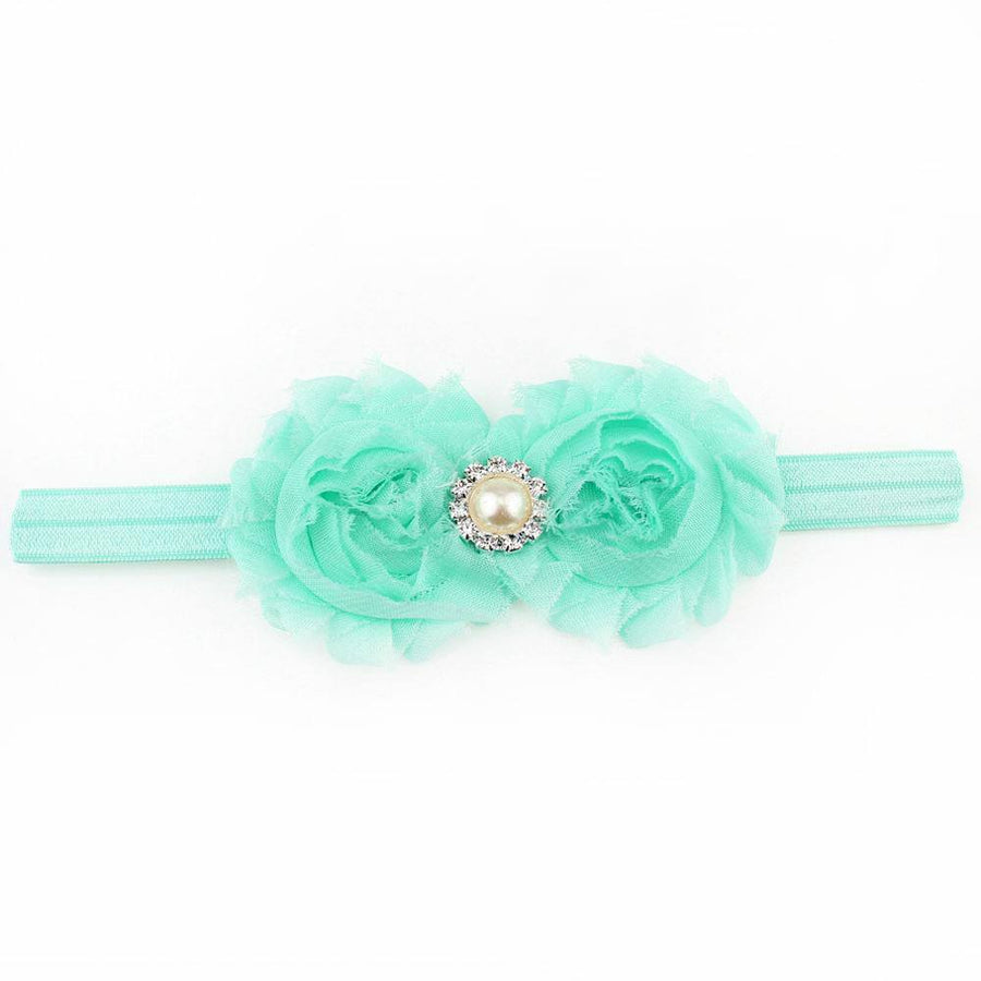 Mint Shabby Flower Headband