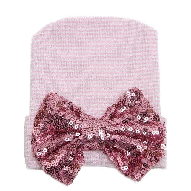 Pink Newborn Sparkle Bow Hat - Baby Girl Accessories - Cassidy's Closet