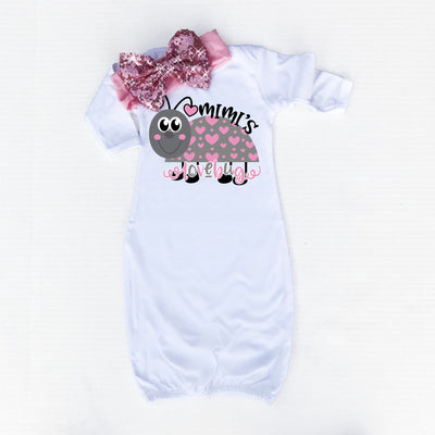 Personalized Lovebug Baby Gown | White - Cassidy's Closet - 2